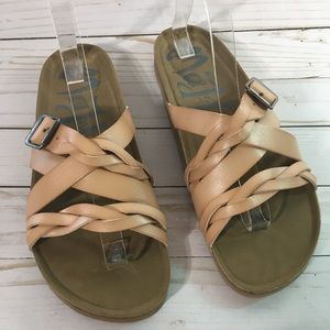 Braided Strappy Tan Open Toe Slip On Sandals New